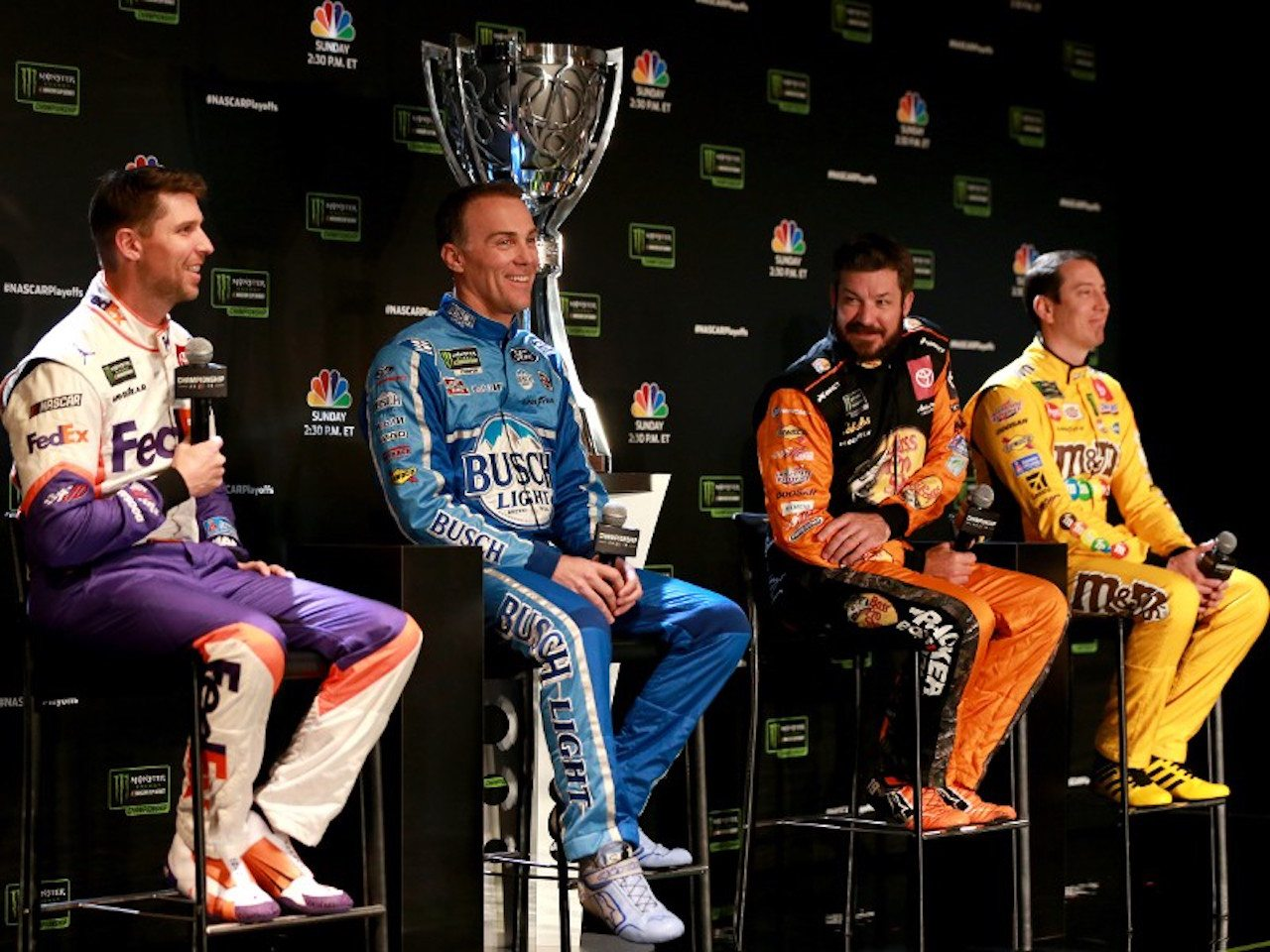 Denny Hamlin, Kevin Harvick, Martin Truex Jr., and Kyle Busch at Homestead-Miami