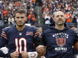 The relationship between Matt Nagy and Mitchell Trubisky has been questioned all season, and some thought the coach pulled his quarterback in the Rams game because he was struggling. (Image: AP)