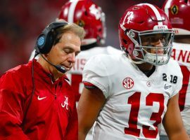 Alabama coach Nick Saban defended himself over criticism that he kept quarterback Tua Tagovailoa in the Mississippi State game despite a 35-7 lead. (Image: Getty)