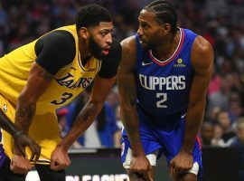 LA Lakers center, Anthony Davis, boxes out LA Clippers forward, Kawhi Leonard, in a game at Staples Arena in Los Angeles. (Image: Brian Rothmuller/Getty)