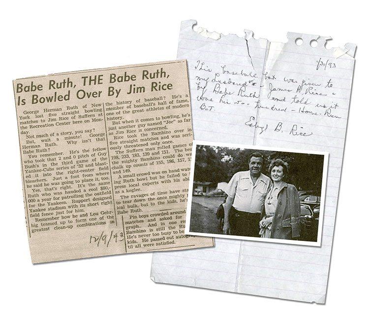 Babe Ruth gives Jim Rice his home run bat