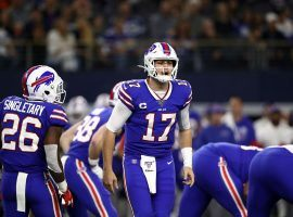 Buffalo Bills quarterback Josh Allen calls out an audible during the Dallas Cowboys game on Thanksgiving in Texas Stadium. (Image: Ronald Martinez/Getty)
