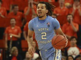 North Carolina point guard, Cole Anthony, during a game against Virginia in Charlottesville, VA. (Image: Steve Helber/Getty)
