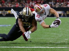 San Francisco 49ers TE Greg Kittle dives for a touchdown against the New Orleans Saints in the Superdome. (Image: Getty)