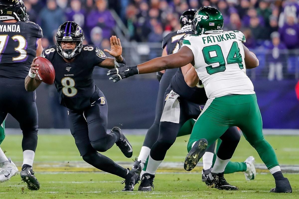 Lamar Jackson Michael Vick rushing record Ravens LOLJets Jets