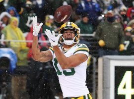 Green Bay Packers rookie WR, Allen Lazard, catches a touchdown pass against the NY Giants at MetLife Stadium. (Image: Al Bello/Getty)