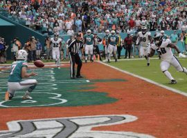 Miami Dolphins kicker, Jason Sanders (7), catches a touchdown pass during a faked field goal and trick play against the Philadelphia Eagles. (Image: Lynne Sladky/AP)