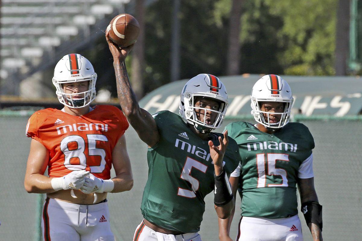 Miami quarterbacks N'Kosi Perry and Jarren Williams Independence Bowl