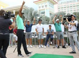 Tiger Woods kicked off this week's Hero World Challenge by winning an exhibition on Monday called the Hero Shot. (Image: Mario Nixon/TGR Live)