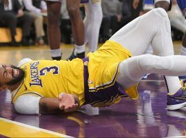 LA Lakers center, Anthony Davis, moments after a nasty fall against the New York Knicks at Staples Center in Los Angeles. (Image: Getty)
