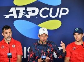 Novak Djokovic (center) is participating in the ATP Cup, but believes it should be merged with the existing Davis Cup team competition. (Image: AFP)