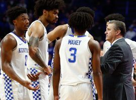 Kentucky head coach John Calipari talks to players during a timeout against Georgia at Rupp Arena in Lexington, KY. (Image: AP)
