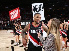 Portland Trail Blazers guard Damian Lillard interviewed by Allie LaForce after he scored a career-high 61 points against the Golden State Warriors. (Image: Sam Forencich/Getty)