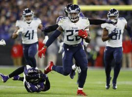 Tennessee Titans running back, Derrick Henry, run all over the Baltimore Ravens in a 28-12 victory in the AFC divisional playoffs in Baltimore. (Image: Nick Wass/AP)