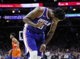 Philadelphia Sixers center Joel Embiid shrieks in agony after a dislocated ring finger injury against the OKC Thunder. (Image: Matt Slocum/AP)