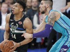Charlotte Hornets center Willy Hernangomez fouls Milwaukee Bucks All-Star Giannis Antetokounmpo during an NBA game in Paris, France. (Image: Thibault Camus/AP)
