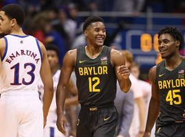 Baylor guard, Jared Butler (12), smiles after the Bears finally defeated Kansas in Lawrence, KS. (Image: Getty)