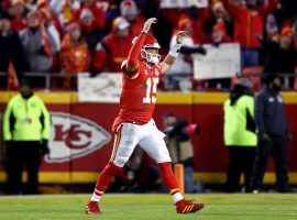Kansas City Chefs QB Patrick Mahomes celebrates a touchdown during a 51-31 victory over the Houston Texans in the AFC Divisional round. (Image: Getty)