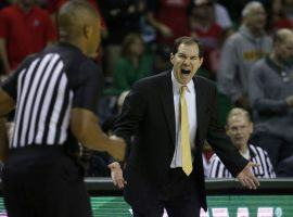Baylor head coach Scott Drew argues a call during a game against Arizona in Waco, Texas. (Image: Michael Ainsworth/AP)