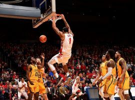 Obi Toppin throws down a dunk against Coppin State last season at U of D Arena in Dayton, Ohio. (Image: Dayton Athletics)