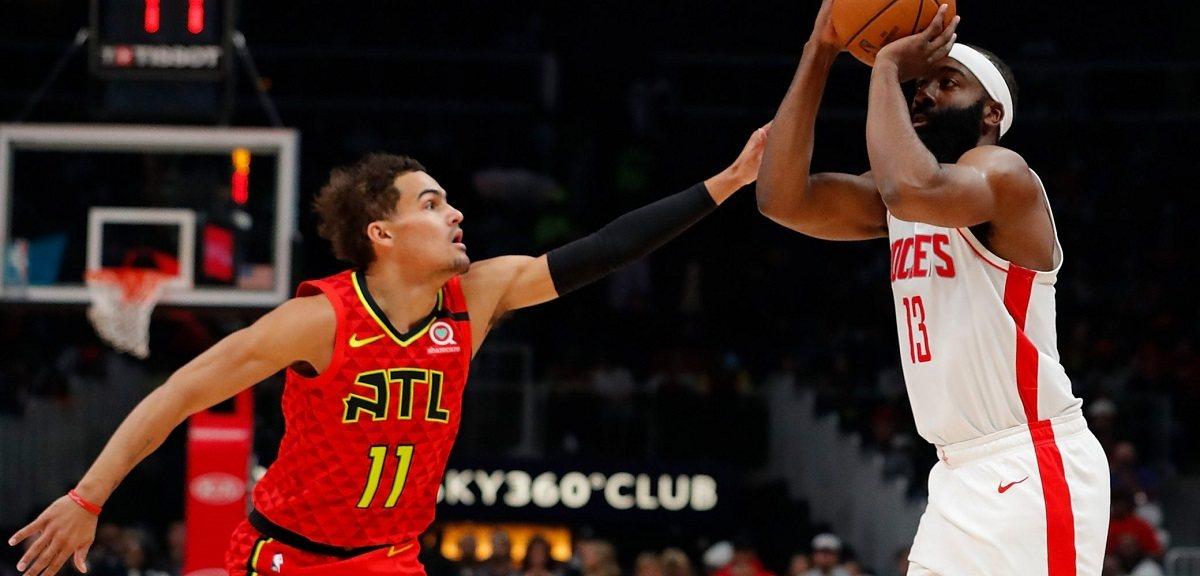 Trae Young James Harden triple-double Rockets Hawks
