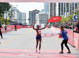 Brigid Kosgei broke the women's marathon record wearing Nike Vaporfly running shoes.