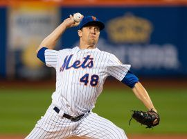 NY Mets pitcher Jacob deGrom is seeking a third consecutive NL Cy Young award. (Image: Gregory Fisher/USA Today Sports)