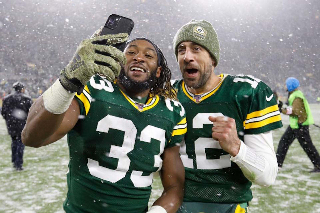 Aaron Jones, Aaron Rodgers Seattle-Green Bay NFC Divisional Playoff game