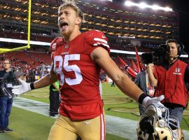 If San Francisco 49ers tight end George Kittle scores first it would pay +800 for the Super Bowl offensive prop bet. (Image: Getty)