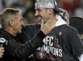 San Francisco head coach Kyle Shanahan celebrates with his father, former NFL head coach Mike Shanahan, after winning the NFC Championship and heading to the Super Bowl. (Image: AP)