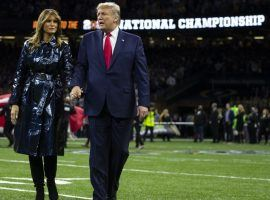 President Trump showed up for the College Football National Championship game two weeks ago, but is a -400 not to show up for the Super Bowl. (Image: AP)