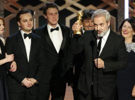 Director Sam Mendes and the cast of '1917' after winning Best Drama at the Golden Globes in Beverly Hills, CA. (Image: Paul Drinkwater/Getty)