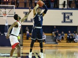 Yale junior shooting guard, Azar Swain, pulls up for a jumper against Cornell in Ithaca, NY. (Image: Yale Athletics)