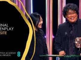 Bong Joon-Ho accepts the award for Original Screenplay at the 2020 BAFTA Awards in London, UK. (Image: BAFTA Awards/YouTube)
