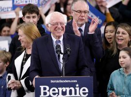 Vermont Senator Bernie Sanders speaks to supporters in Manchester, NH after winning the New Hampshire Primary. (Image: Pablo Martinez Monsivais/AP)