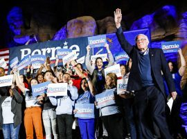 Senator Bernie Sanders campaigns in Las Vegas before the Nevada caucus. (Image: Patrick Semansky/AP)