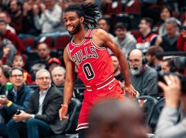Chicago Bulls rookie Coby White celebrates during a torrid shooting streak against the Washington Wizards. (Image: Getty)