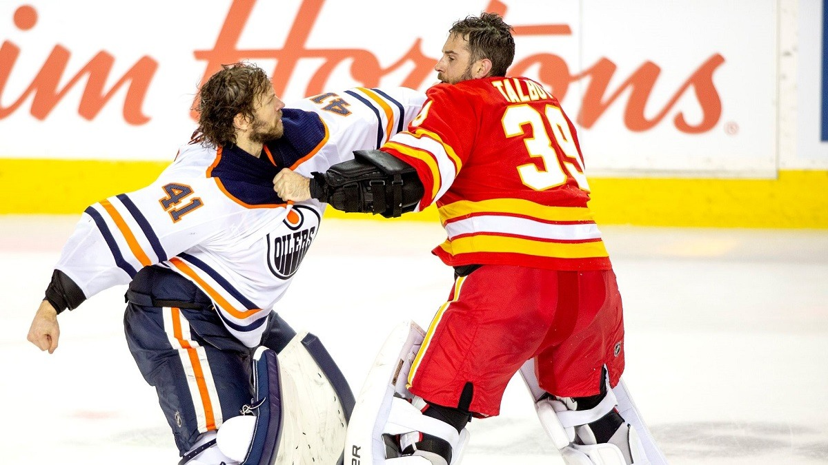 Hockey FIghts Goalie Fight Battle Alberta Edomonton Oilers Calgary Flames Talbot Smith