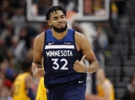 Minnesota Timberwolves center, Karl-Anthony Towns, during a loss against the Denver Nuggets at Pepsi Center in Denver. (Image: Jordan Johnson/Getty)