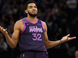Minnesota Timberwolves center, Karl-Anthony Towns, will sit out at least two weeks with a wrist injury. (Image: Porter Lambert/Getty)