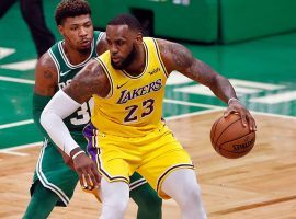 Boston Celtics Marcus Smart guards LA Lakers star LeBron James during a game at TD Garden in Boston. (Image: Brian Babineau/Getty)