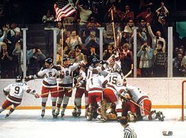 The US men's ice hockey team celebrates a victory over the USSR at the 1980 Olympics in Lake Placid, New York. (Image: Getty)