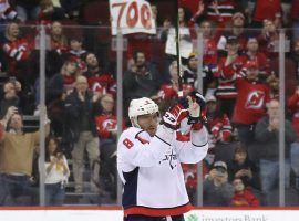 Alex Ovechkin of the Washington Capitals celebrates scoring goal #700 on his career against the New Jersey Devils in Newark, NJ. (Image: Bruce Bennett/Getty)