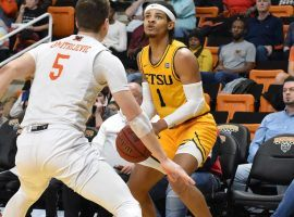 East Tennessee State guard, Tray Boyd, squares up for a shot against Mercer in Southern Conference action. (Image: ETSU Athletics)