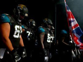 The Jacksonville Jaguars pause before introductions at Wembley Stadium in London, UK, in 2019. (Image: Dan Istitene/Getty)