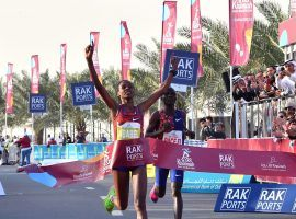 Ababel Yeshaneh shaves 20 seconds off the half marathon record at the RAK. (Image: Giuseppe Cacace/Getty)