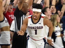 Gonzaga guard Admon Gilder shimmies after hitting a three-pointer against LMU in Spokane, WA. (Image: (Colin Mulvany/Spokesman-Review)