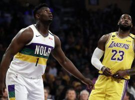 New Orleans Pelicans rookie Zion Williamson and LeBron James of the LA Lakers at the Staples Center in Los Angeles. (Image: Getty)