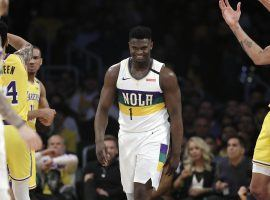 New Orleans Pelicans rookie Zion Williamson scores a bucket against the LA Lakers at Staples Center. (Image: Marcio Jose Sanchez/AP)