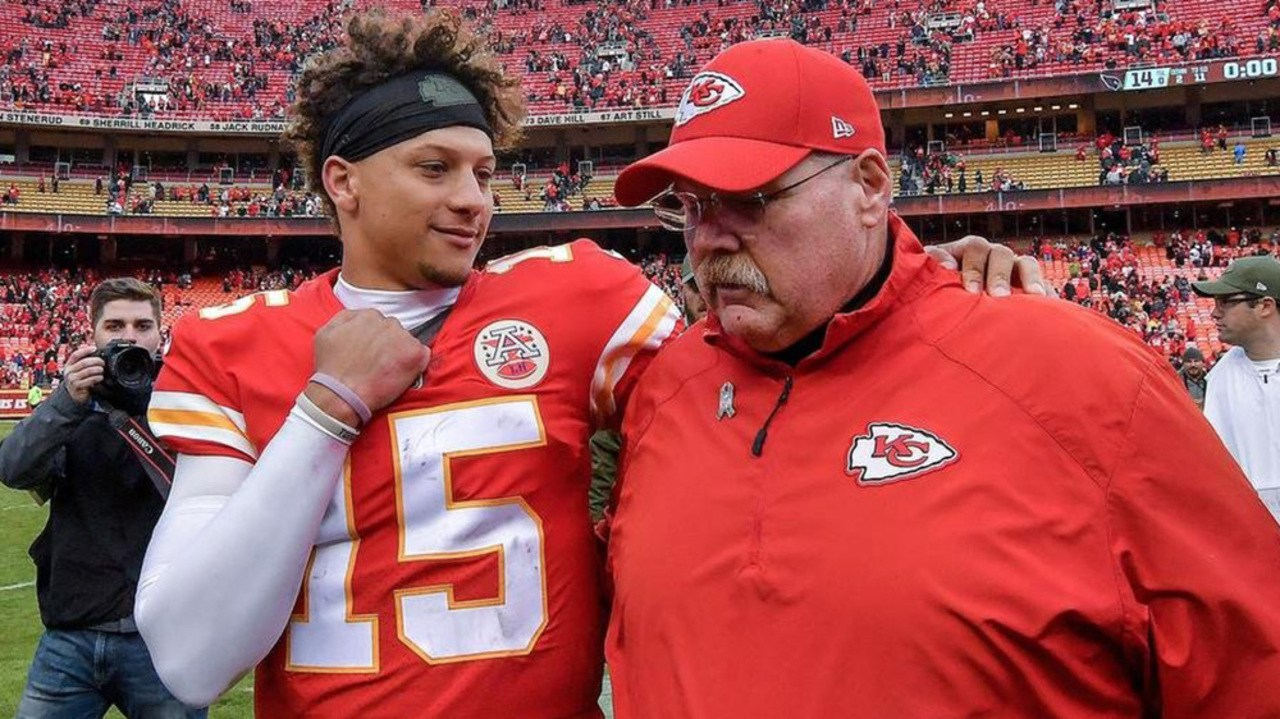 Kansas City quarterback Patrick Mahomes and head coach Andy Reid Super Bowl 54